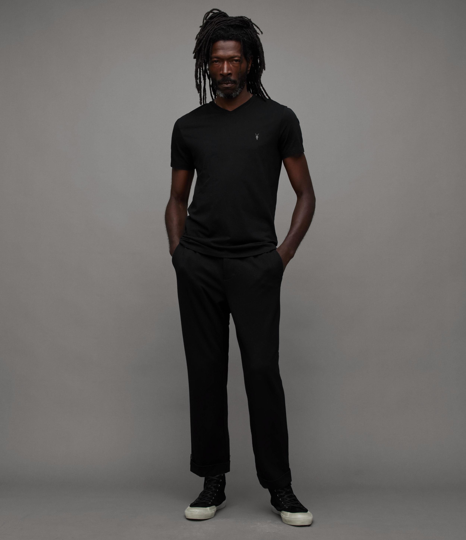 AllSaints Men's Cotton Lightweight Tonic V-Neck T-Shirt, Black, Size: XXL