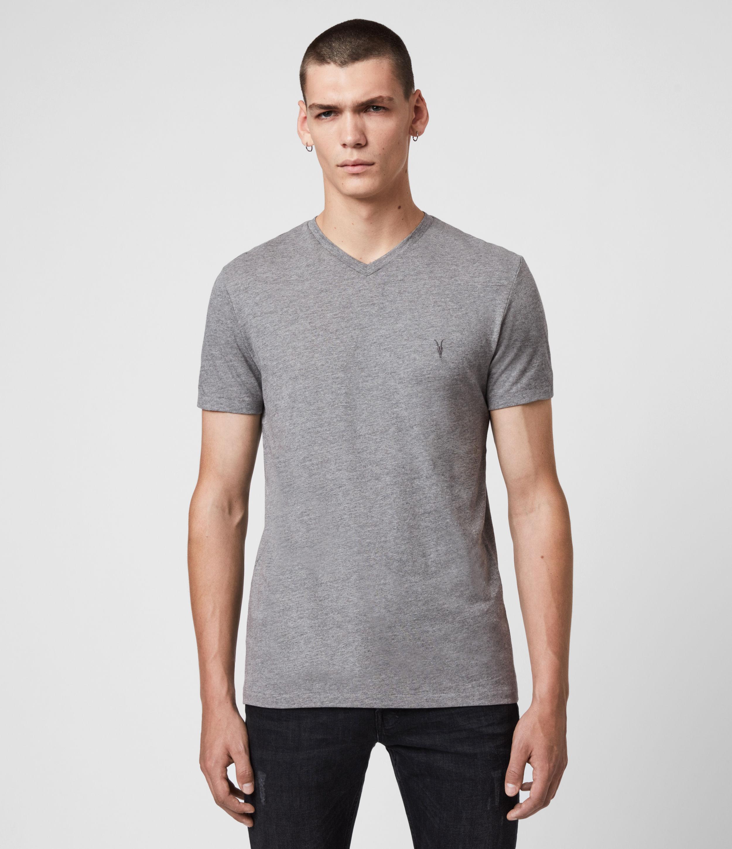 AllSaints Men's Cotton Lightweight Tonic V-Neck T-Shirt, Grey, Size: XXL