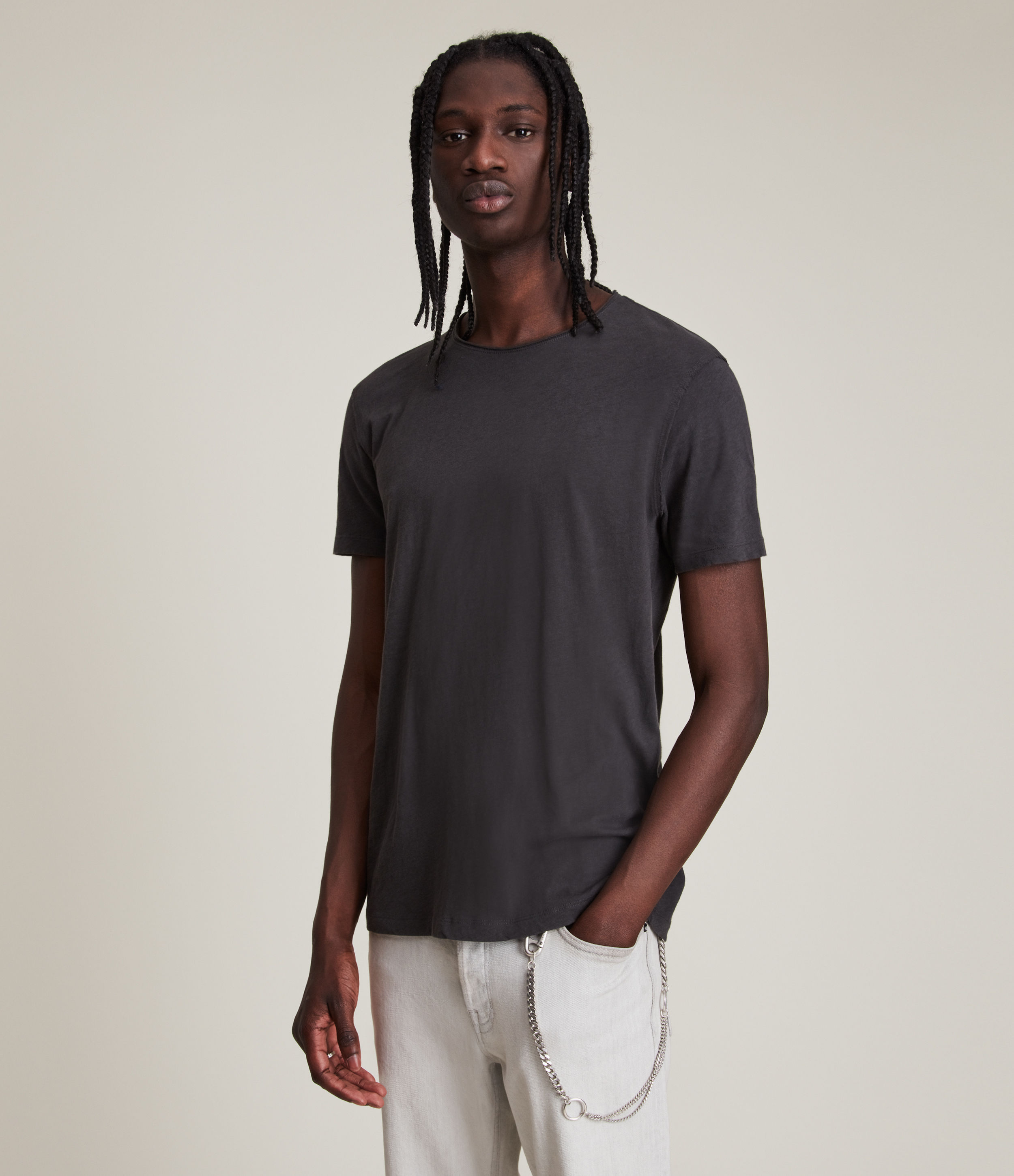 AllSaints Men's Cotton Regular Fit Figure Crew T-Shirt, Black, Size: XXL