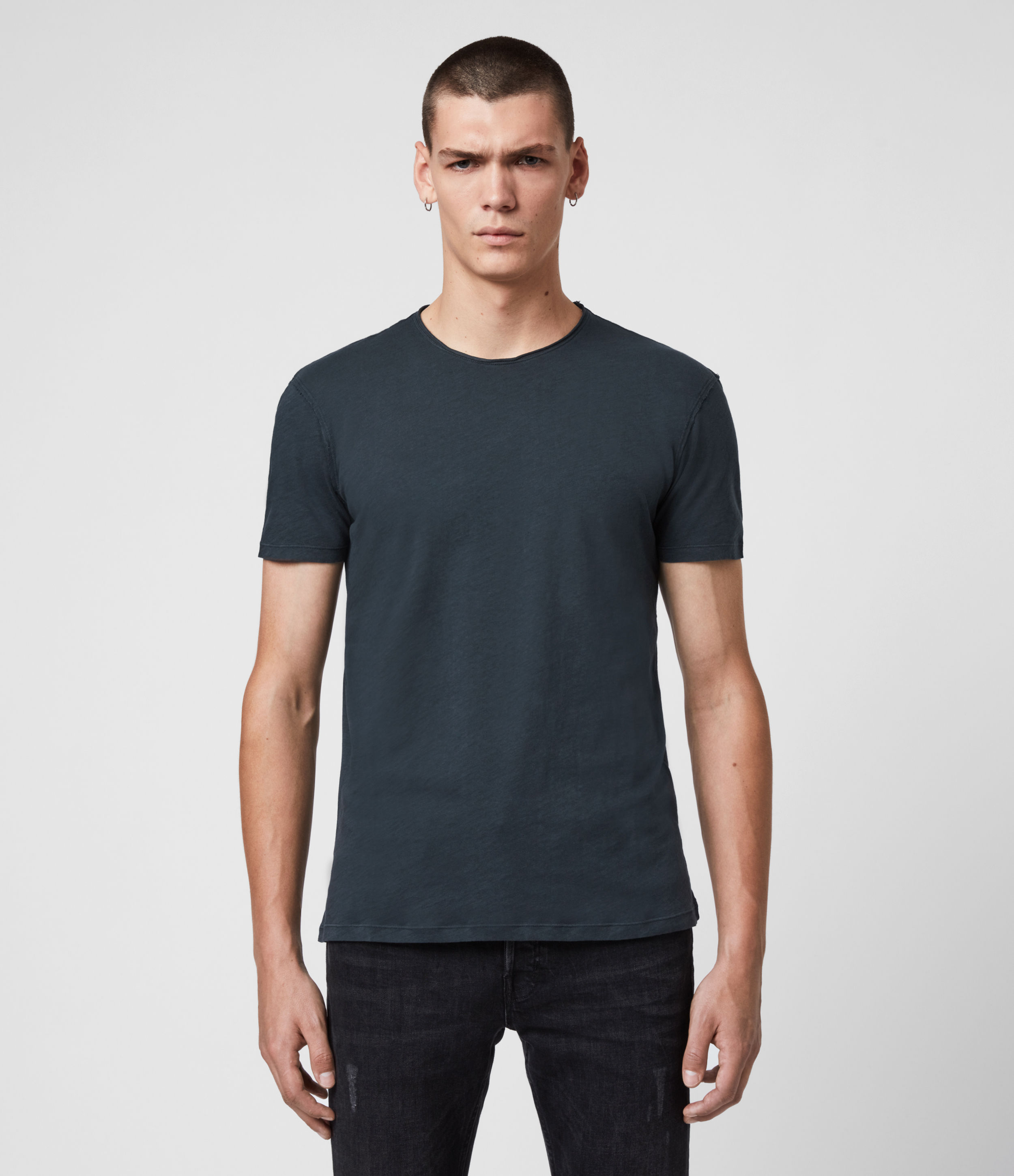 AllSaints Men's Cotton Regular Fit Figure Crew T-Shirt, Blue, Size: XL