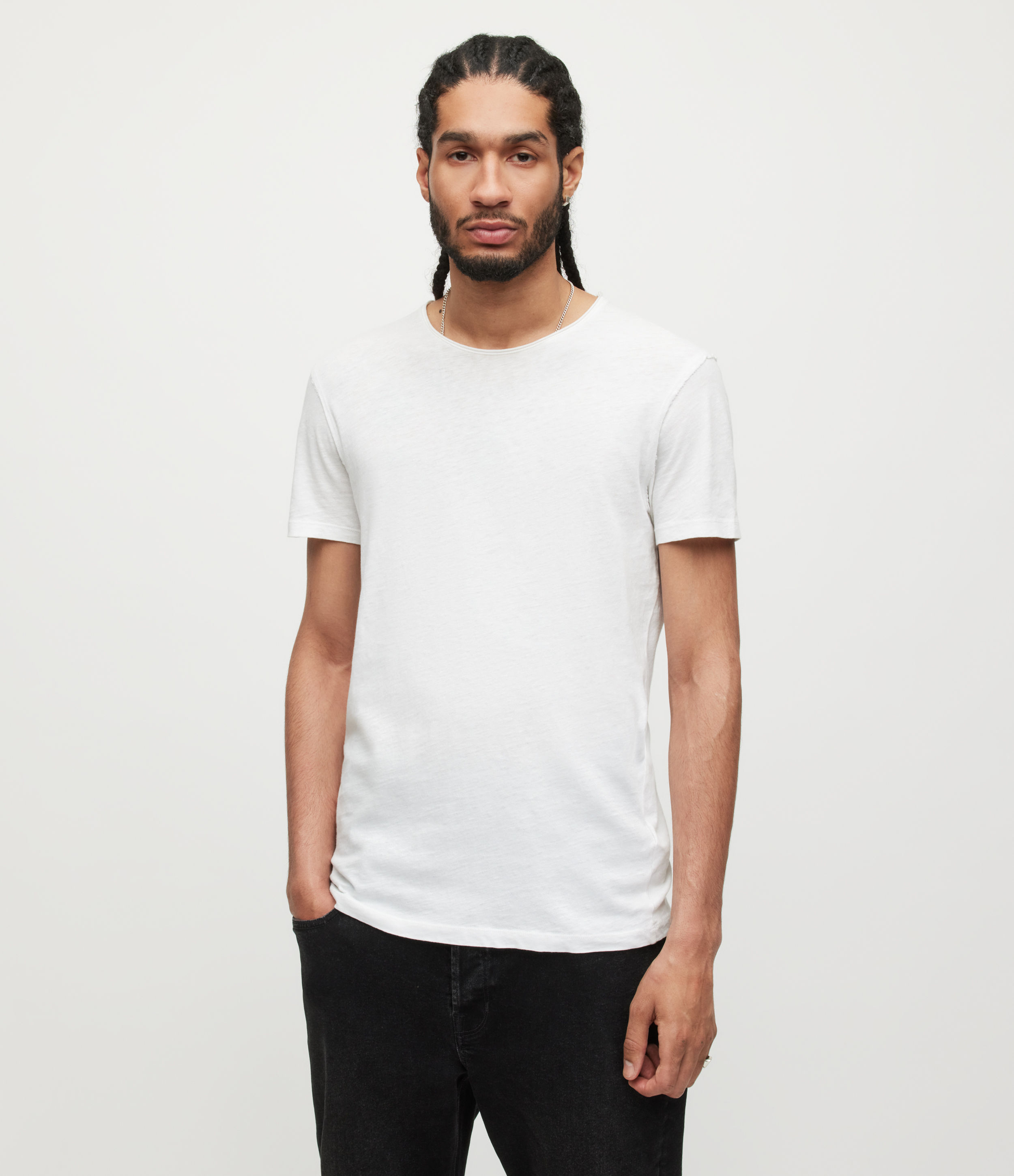 AllSaints Men's Cotton Regular Fit Figure Crew T-Shirt, White, Size: L