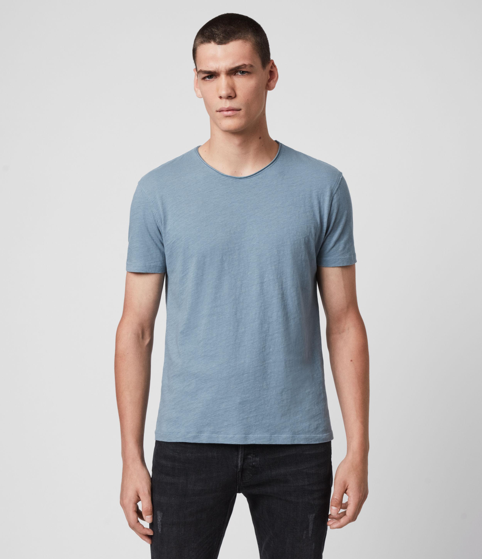 AllSaints Men's Cotton Regular Fit Figure Crew T-Shirt, Blue, Size: S