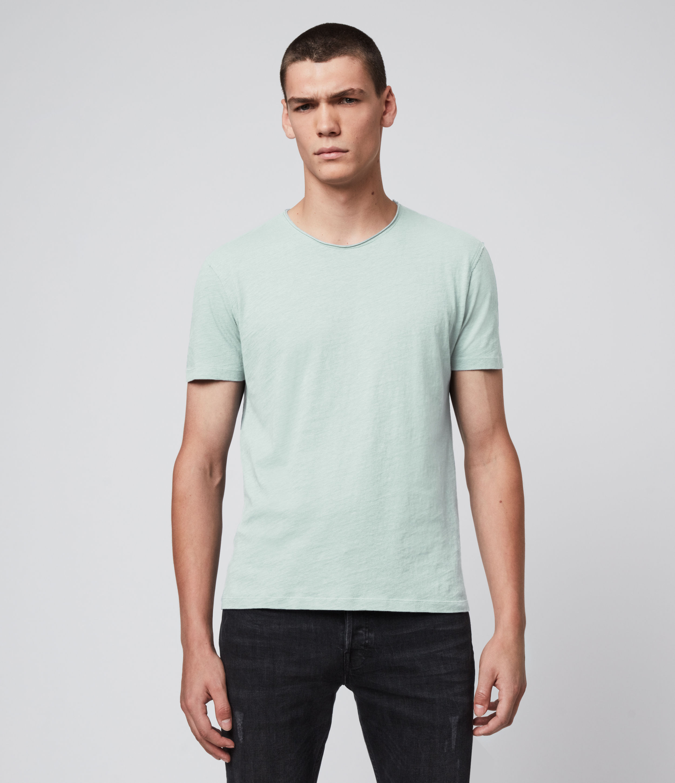 AllSaints Mens Figure Crew T-Shirt, Green, Size: XS