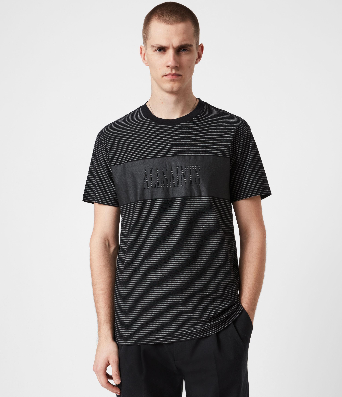 AllSaints Mens Warren Crew T-Shirt, Black, Size: L