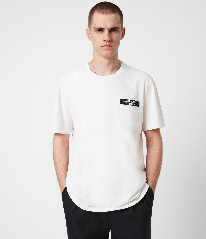 AllSaints Mens Amar Crew T-Shirt, ASH White, Size: S