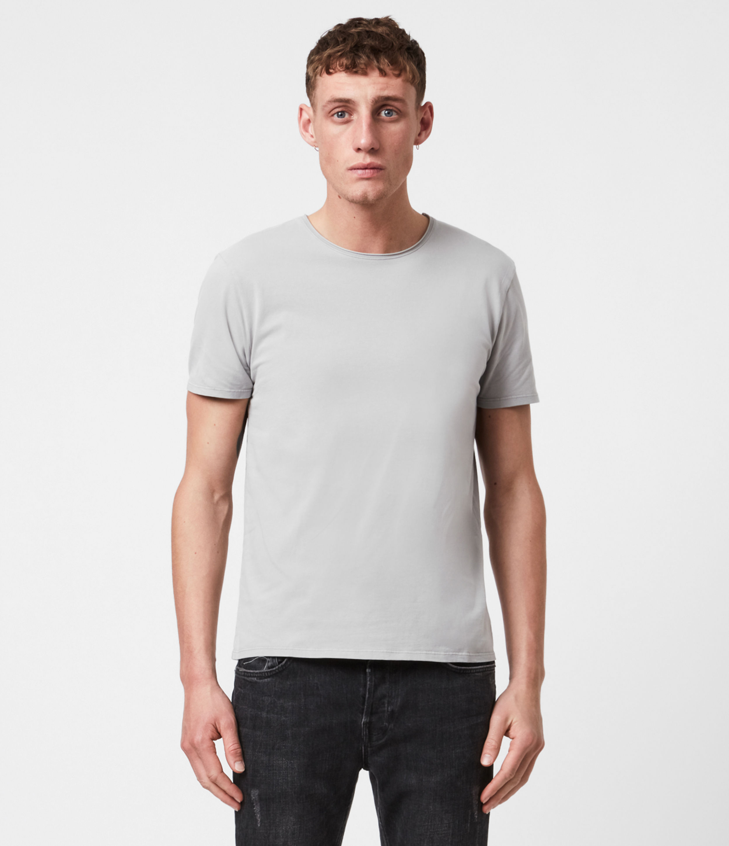 AllSaints Mens Bodega Crew T-Shirt, Putty, Size: L