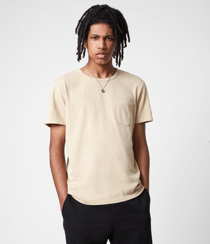 AllSaints Mens Gage Crew T-Shirt, Cabana Yellow, Size: L