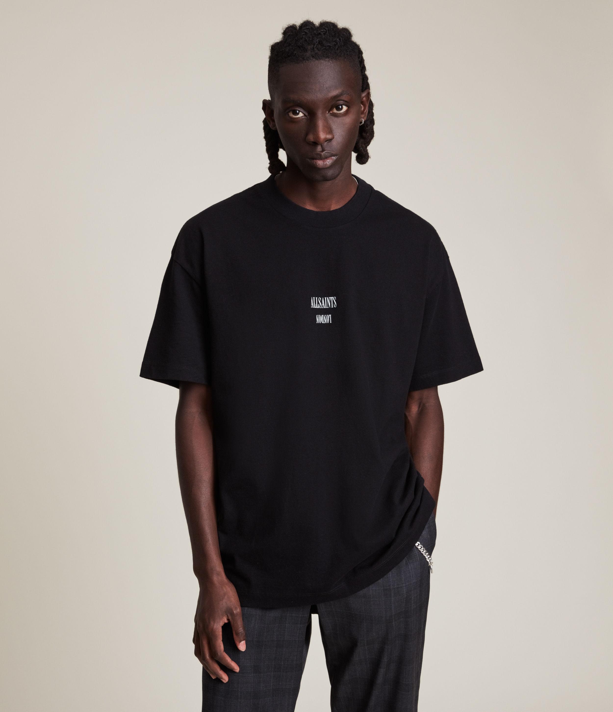 AllSaints Men's Dixon Crew T-Shirt, Jet Black, Size: L