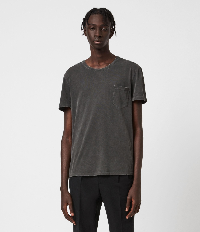 AllSaints Men's Cotton Regular Fit Pilot Crew T-Shirt, Black, Size: S