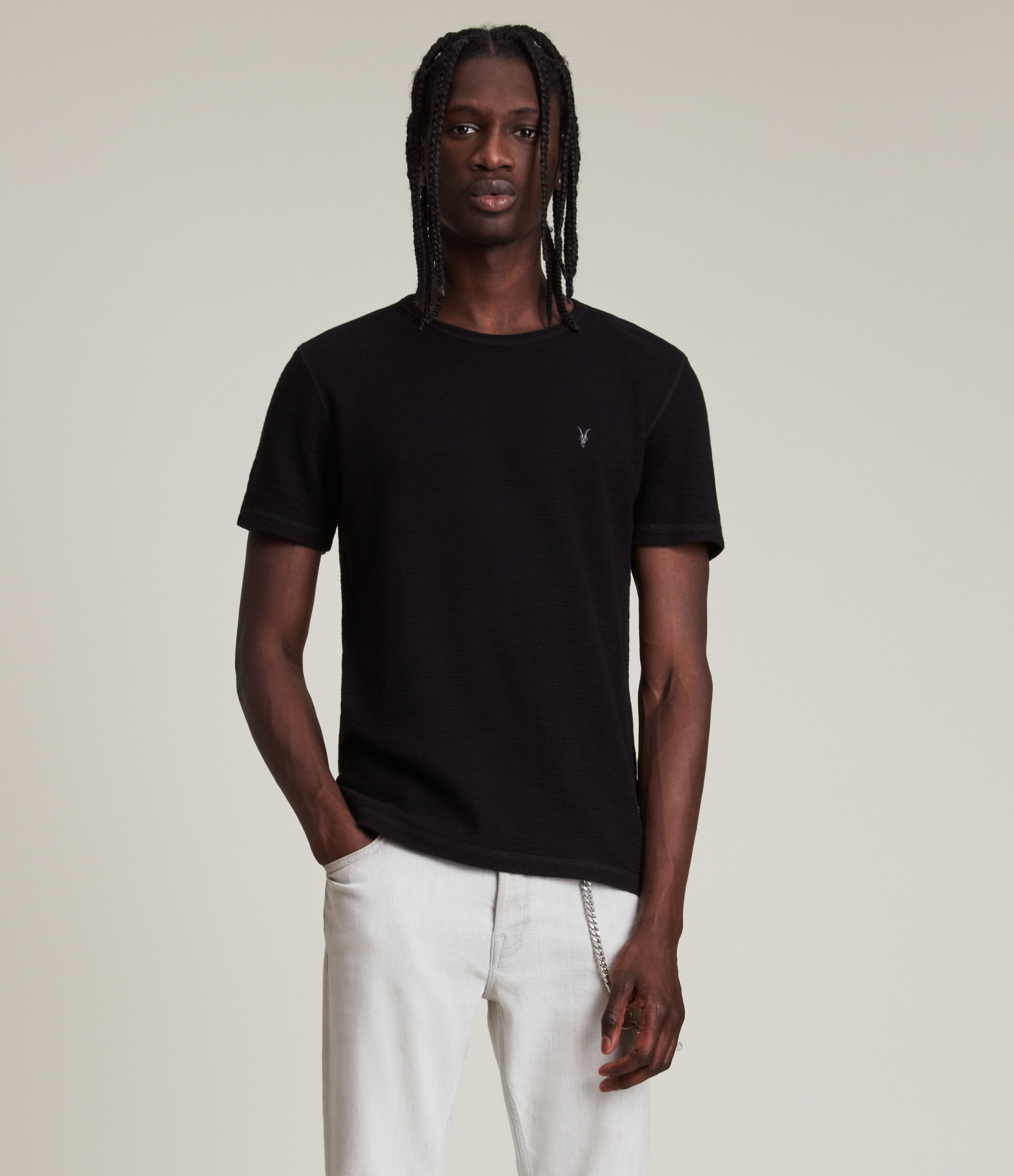 AllSaints Men's Cotton Regular Fit Muse Short Sleeve Crew T-Shirt, Black, Size: XS