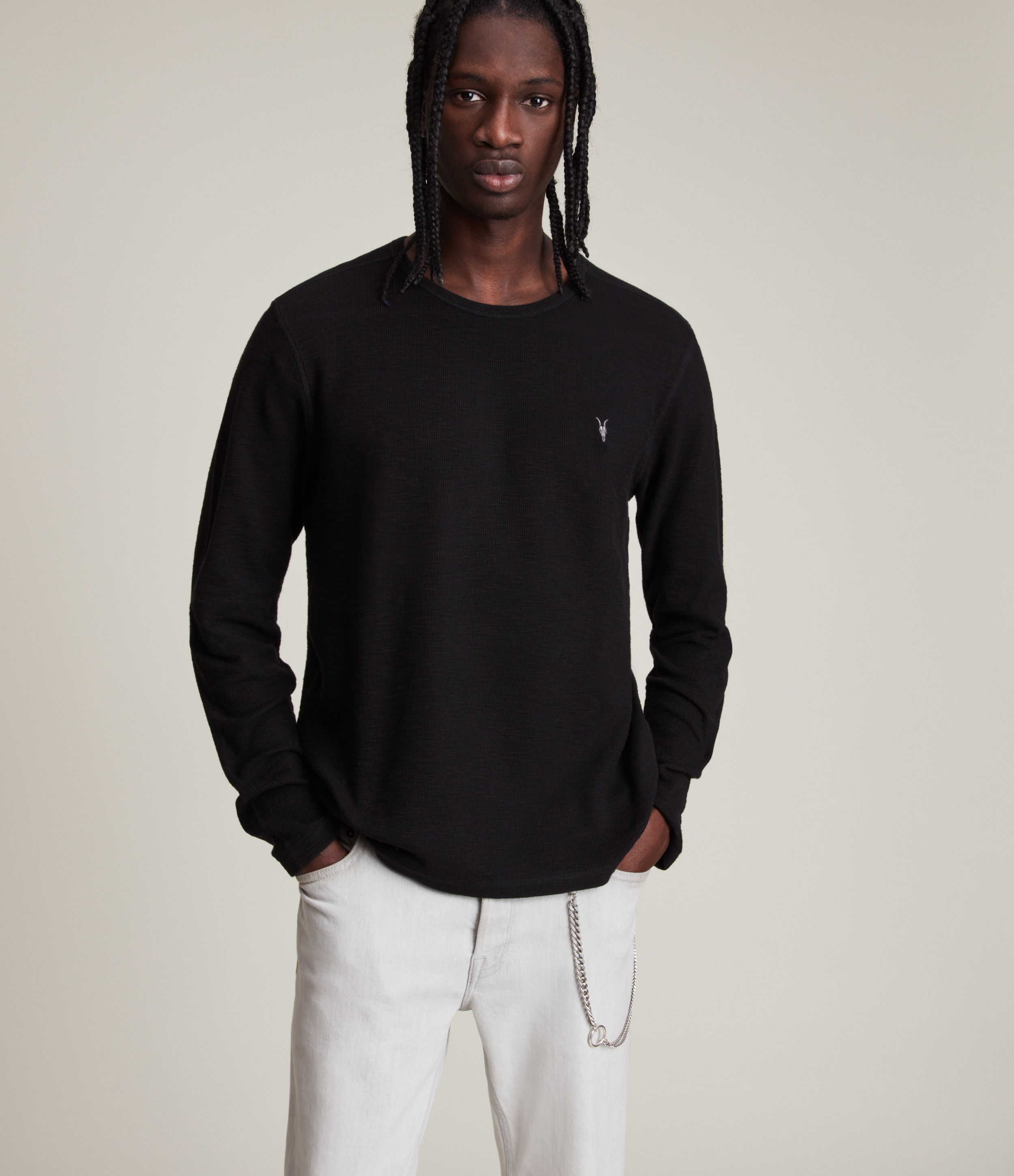 AllSaints Men's Cotton Regular Fit Muse Long Sleeve Crew T-Shirt, Black, Size: XS
