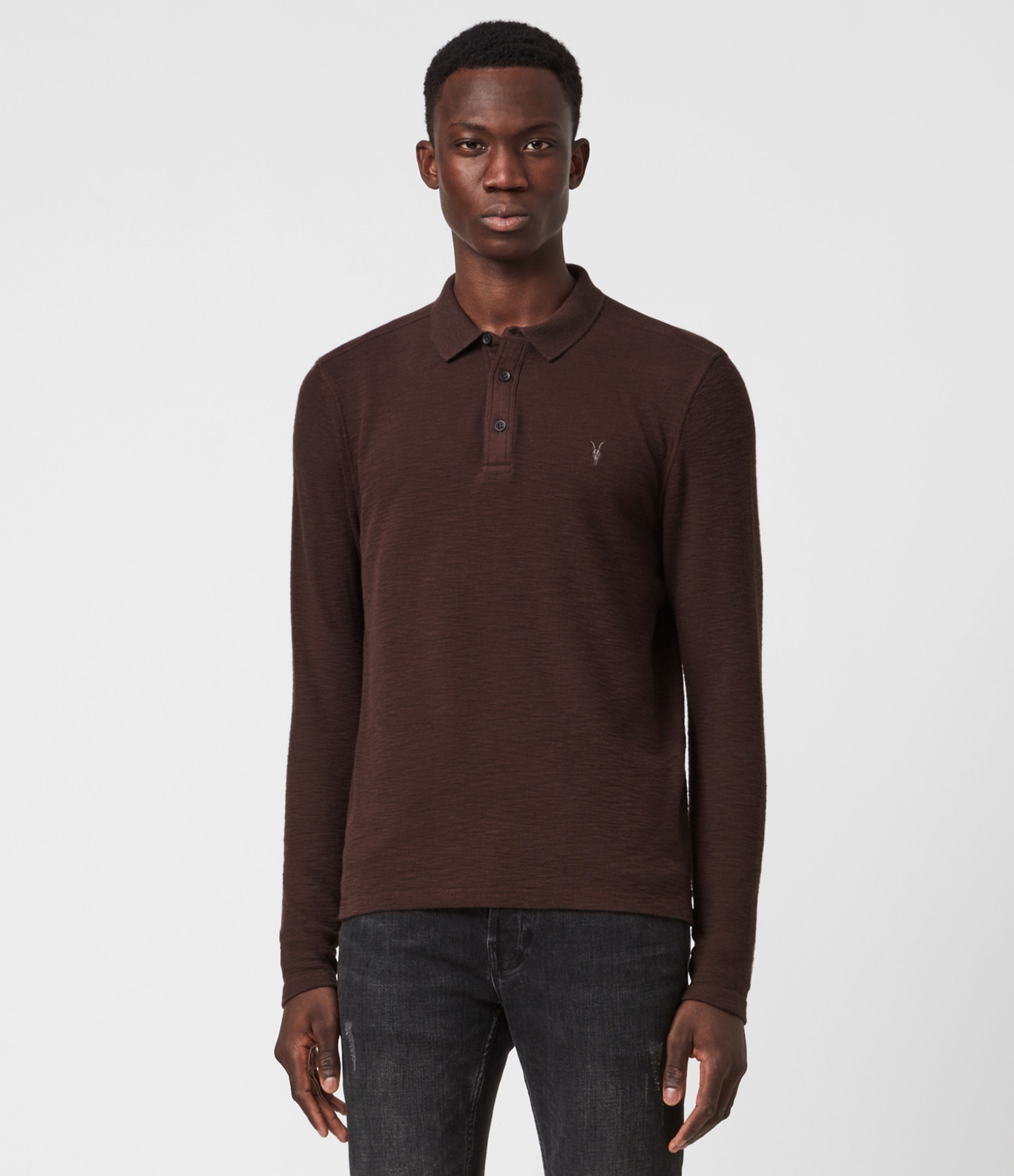 AllSaints Muse Long Sleeve Polo Shirt