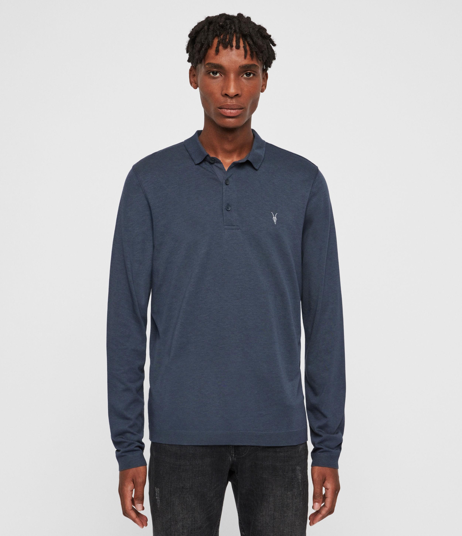 AllSaints Mens Parlour Long Sleeve Polo Shirt, Blue, Size: M