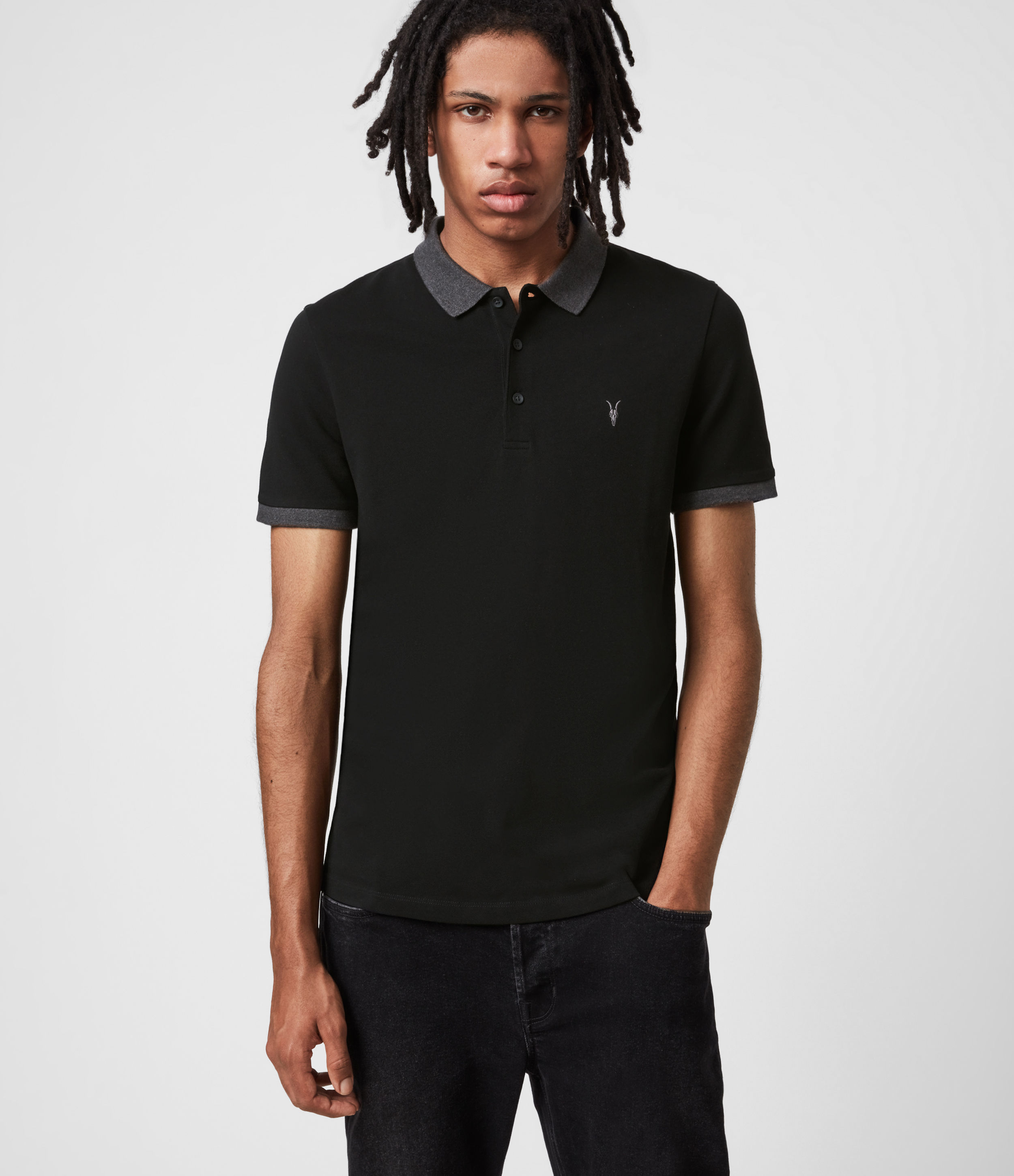 AllSaints Orlando Short Sleeve Polo Shirt