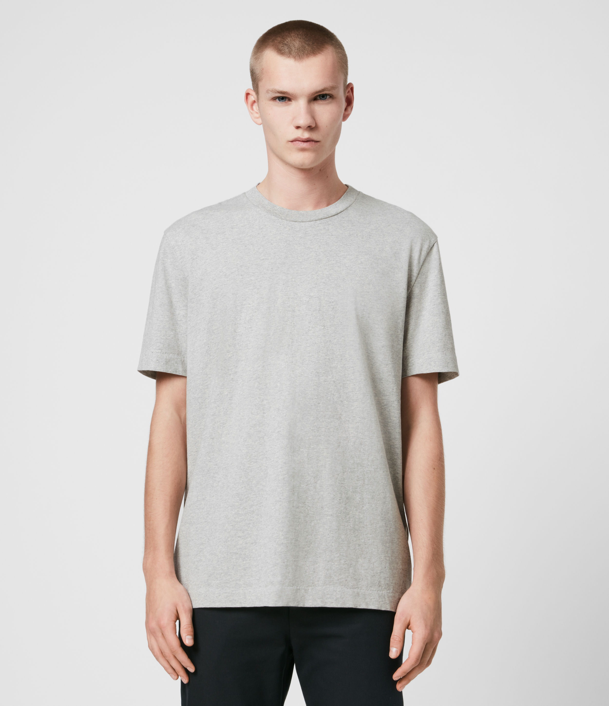 AllSaints Men's Cotton Relaxed Fit Musica Crew T-shirt, Grey, Size: XS