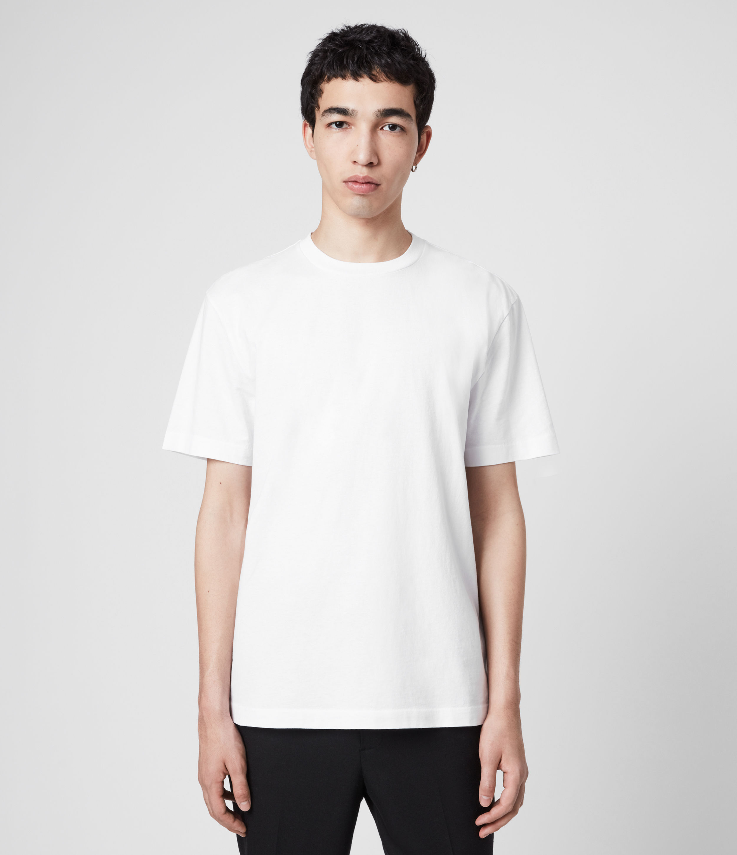 AllSaints Men's Cotton Relaxed Fit Musica Crew T-shirt, White, Size: XS