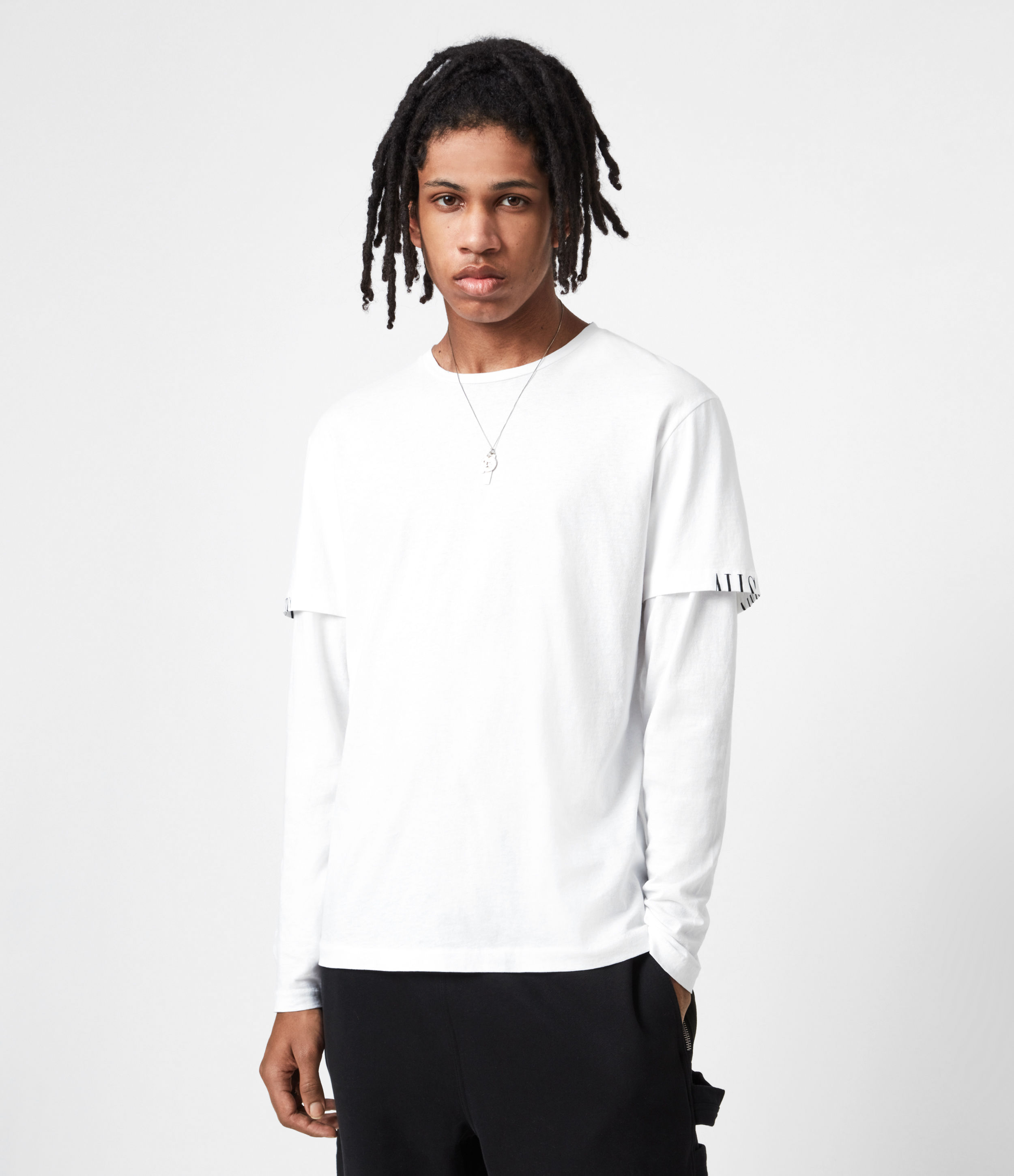 AllSaints Mens Haven Layered Crew T-Shirt, Optic White, Size: L