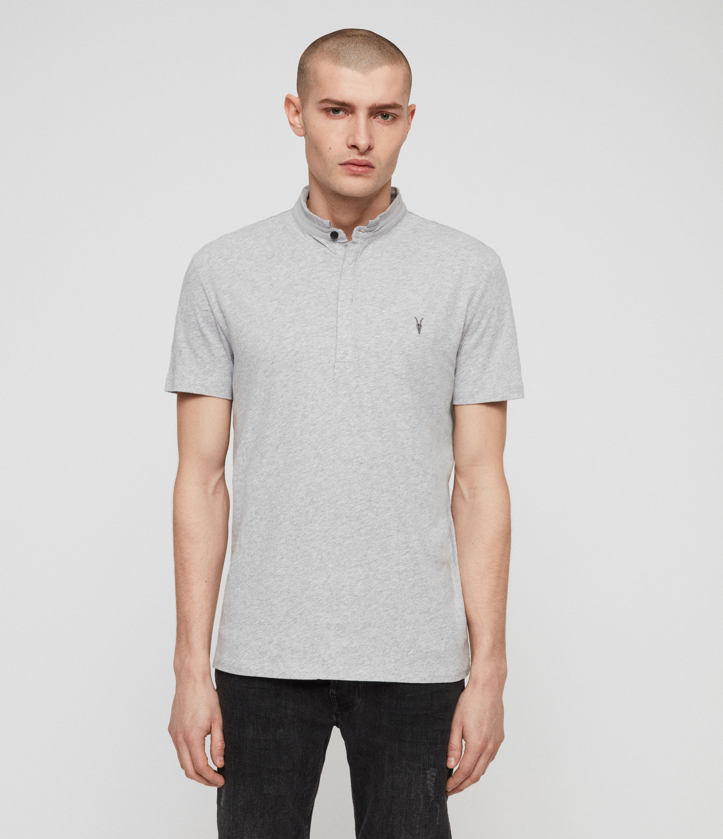 AllSaints Men's Cotton Lightweight Grail Short Sleeve Polo Shirt, Grey, Size: S