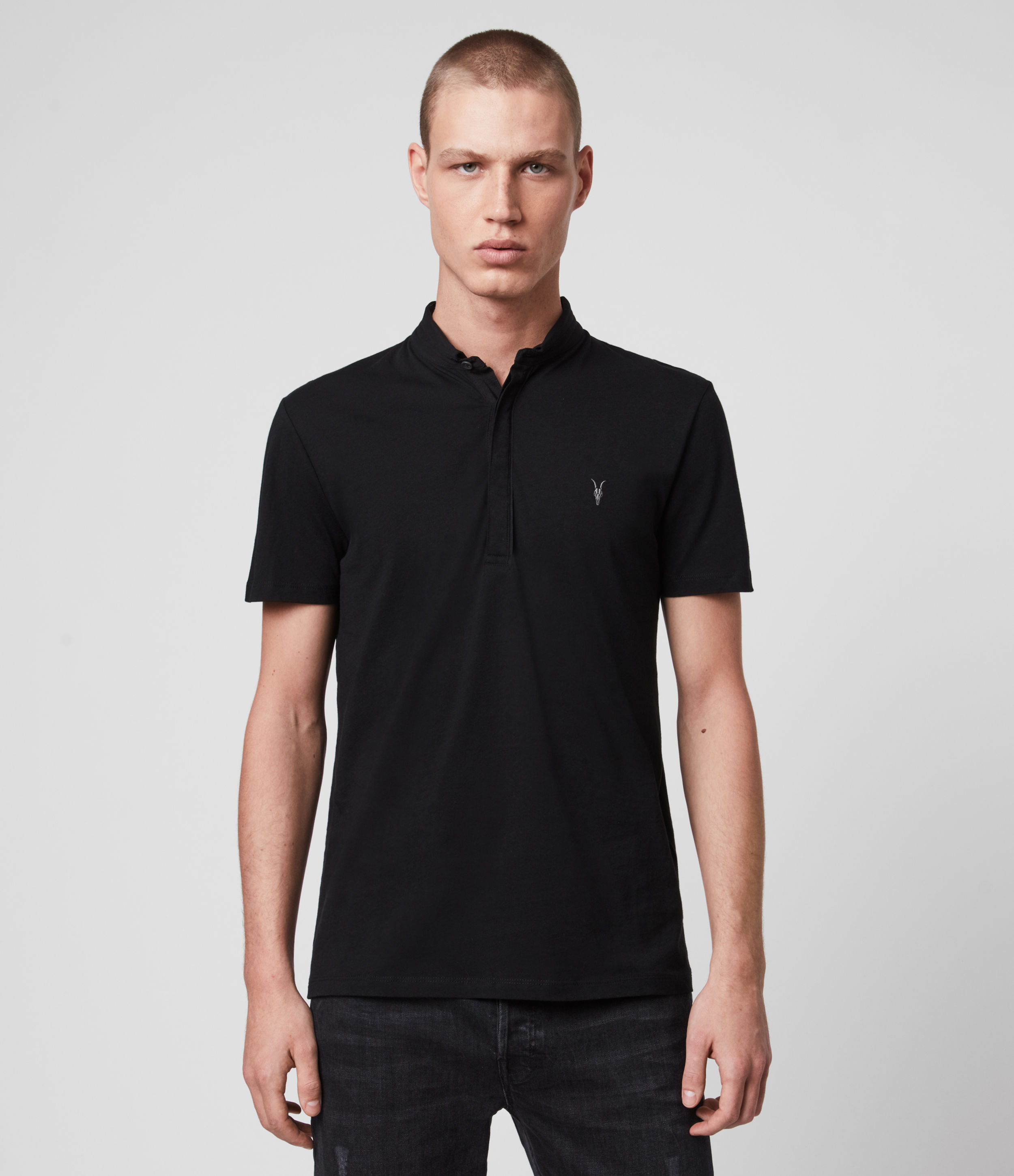 AllSaints Men's Cotton Lightweight Grail Short Sleeve Polo Shirt, Black, Size: XS