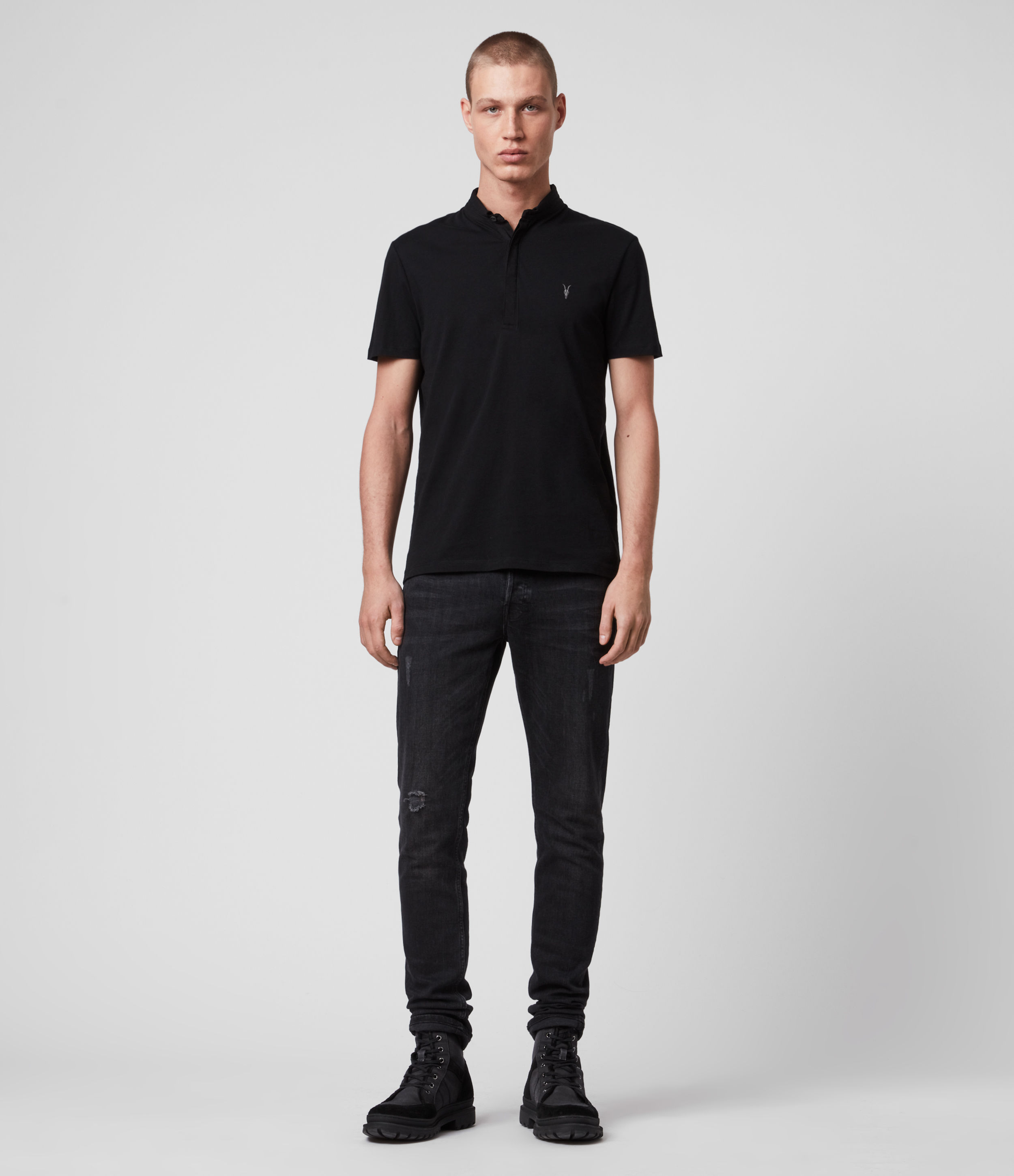 AllSaints Men's Cotton Lightweight Grail Short Sleeve Polo Shirt, Black, Size: L