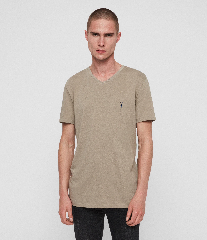 AllSaints Men's Cotton Slim Fit Cooper V-Neck T-Shirt, Grey, Size: S