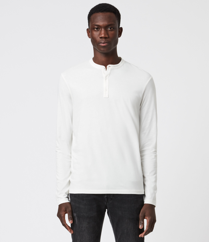 AllSaints Men's Cotton Regular Fit Kershaw Long Sleeve Henley T-Shirt, White, Size: XXL