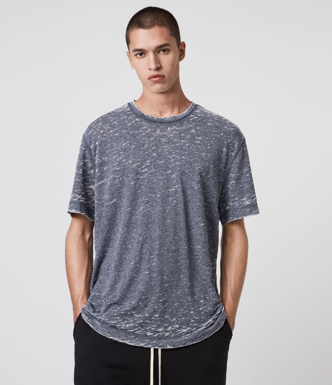 AllSaints Men's Cotton Trinity Crew T-Shirt, Blue, Size: XL