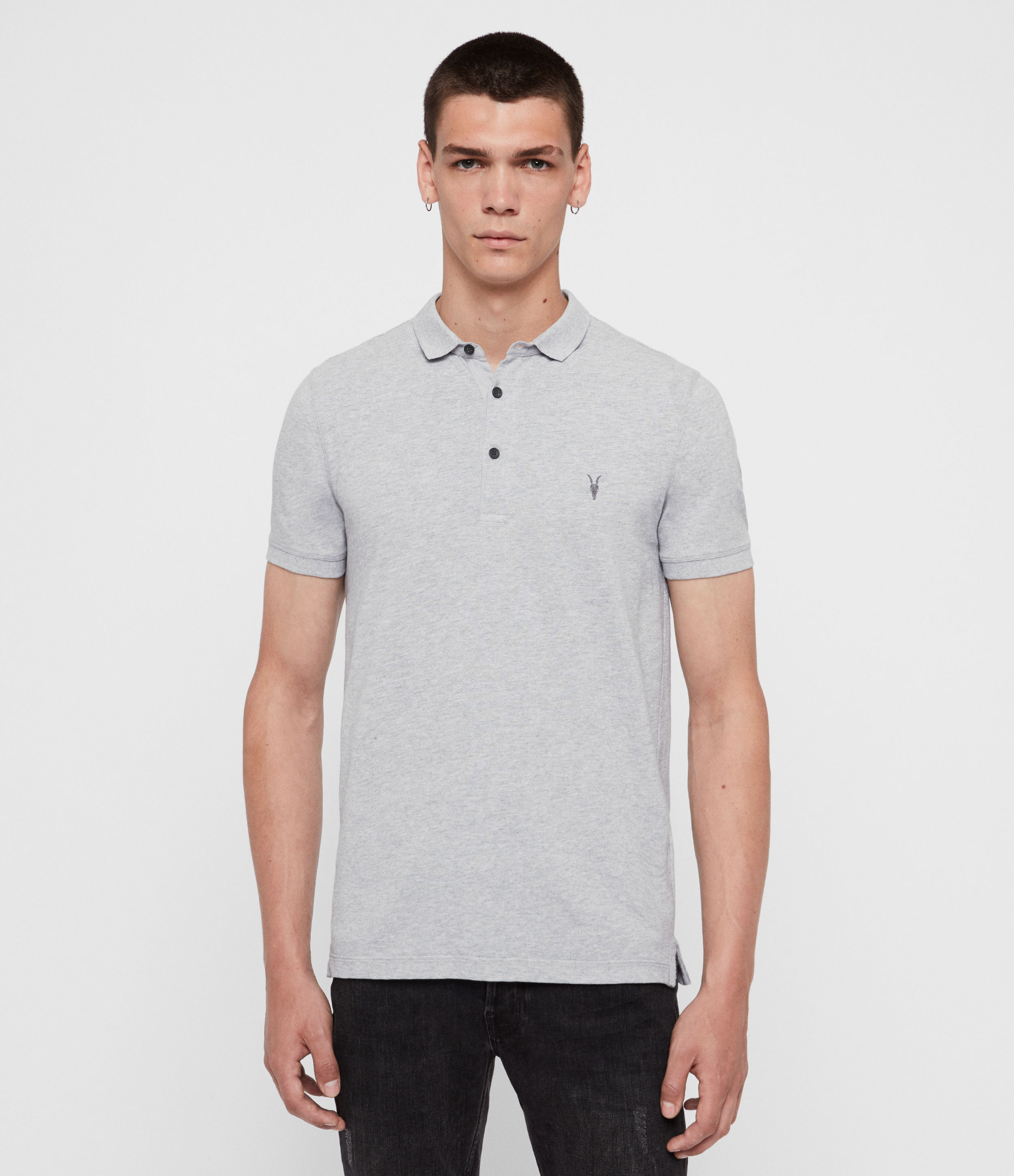 AllSaints Men's Cotton Slim Fit Reform Short Sleeve Polo Shirt, Grey, Size: S