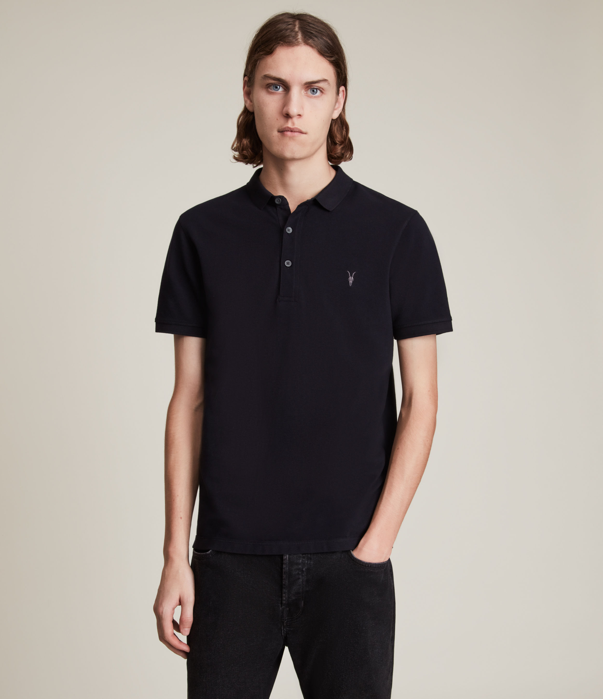 AllSaints Men's Cotton Slim Fit Essential Reform Polo Shirt, Blue, Size: XS