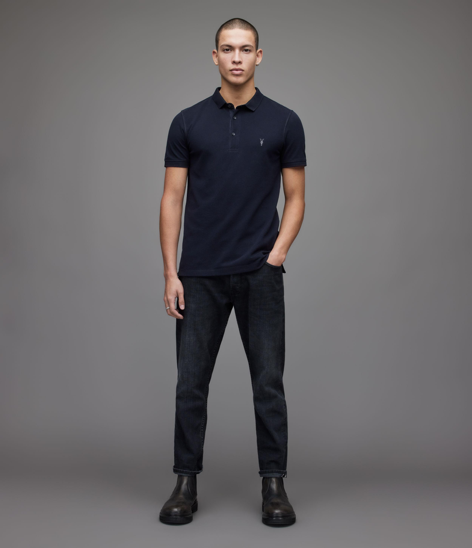 AllSaints Men's Cotton Slim Fit Reform Short Sleeve Polo Shirt, Blue, Size: XXL