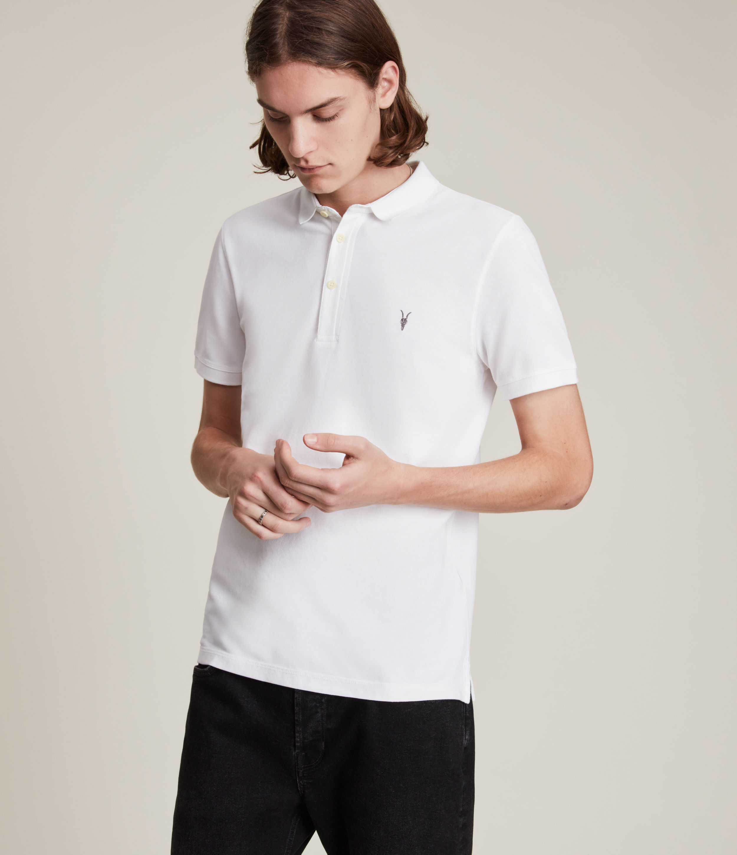 AllSaints Men's Cotton Slim Fit Reform Short Sleeve Polo Shirt, White, Size: XXL