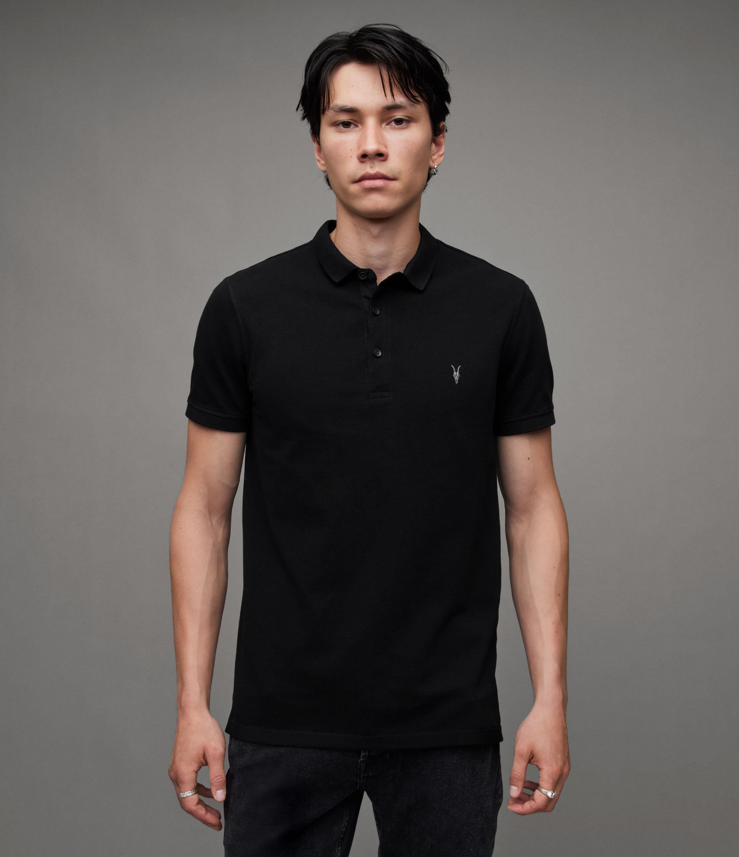 AllSaints Men's Cotton Slim Fit Reform Short Sleeve Polo Shirt, Black, Size: XL