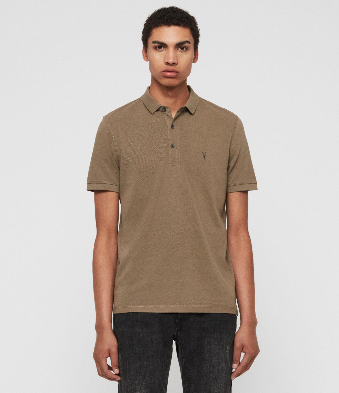 AllSaints Mens Reform Polo Shirt, Brown, Size: XS