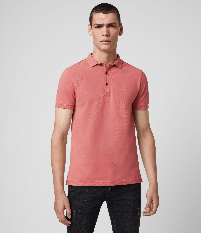 AllSaints Men's Cotton Slim Fit Reform Short Sleeve Polo Shirt, Pink, Size: XS