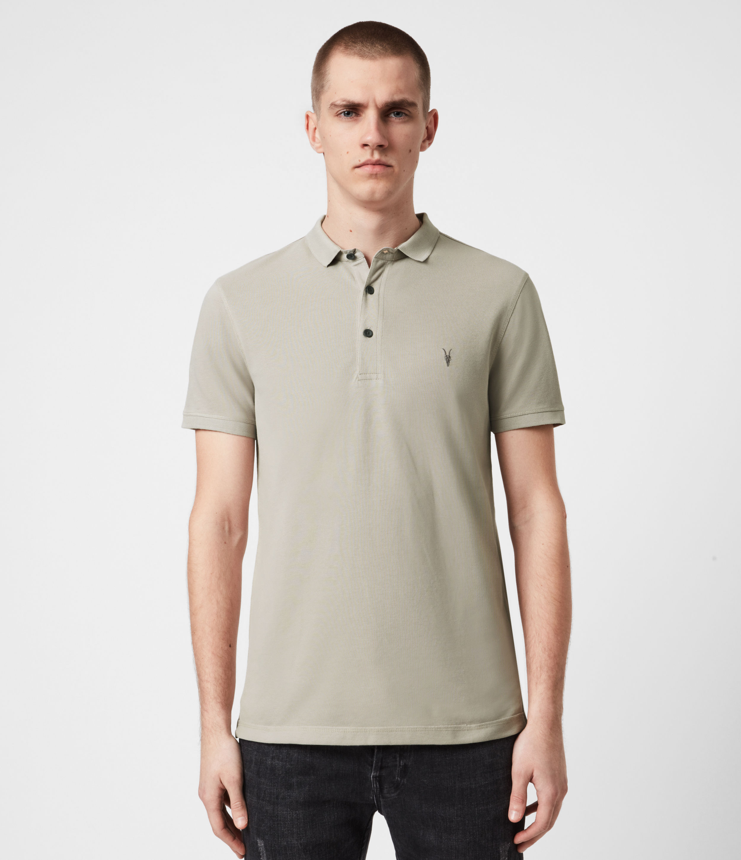 AllSaints Men's Cotton Slim Fit Reform Short Sleeve Polo Shirt, Grey, Size: XXL