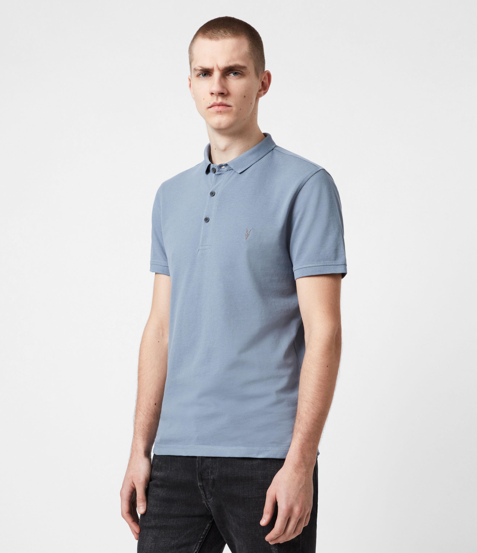 AllSaints Men's Cotton Slim Fit Reform Short Sleeve Polo Shirt, Grey, Size: S
