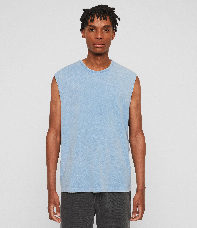 AllSaints Men's Cotton Acetic Sleeveless Crew T-Shirt, Blue, Size: M