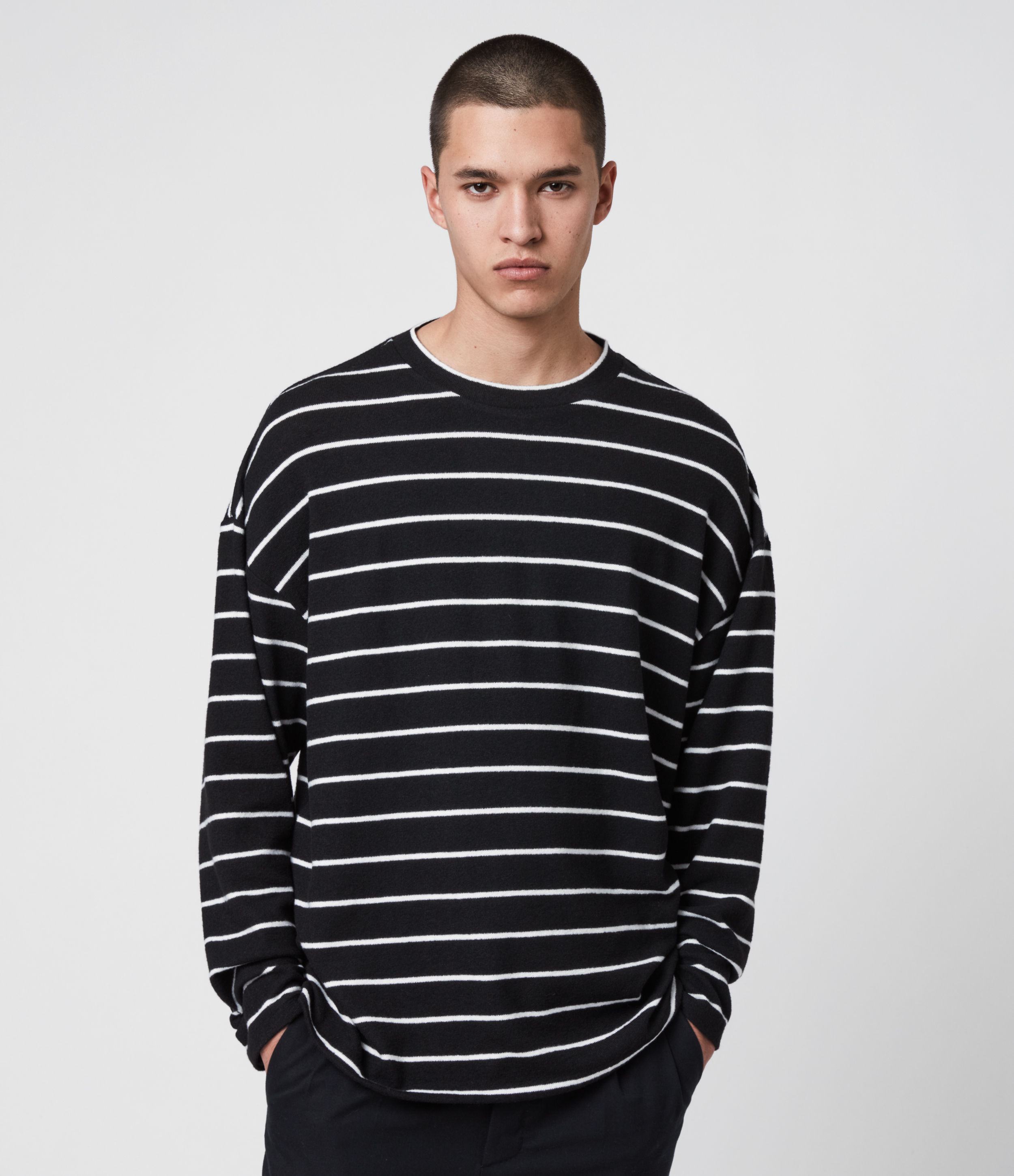 AllSaints Men's Stripe Tobias Oversized Long Sleeve Crew T-Shirt, Black and White, Size: L
