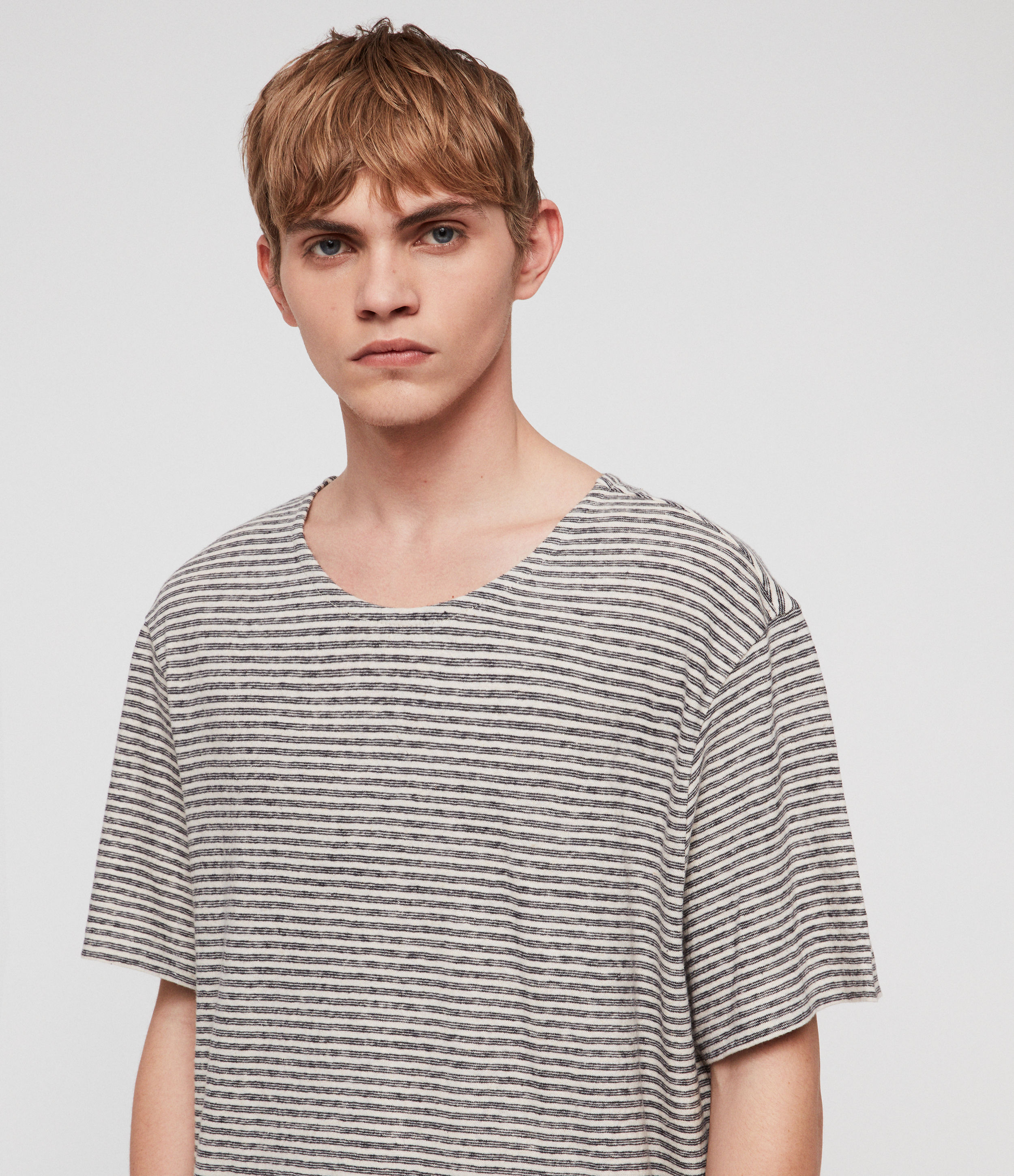 AllSaints Men's Cotton Stripe Relaxed Fit Sine Short Sleeve Crew T-Shirt, White and Navy, Size: XL
