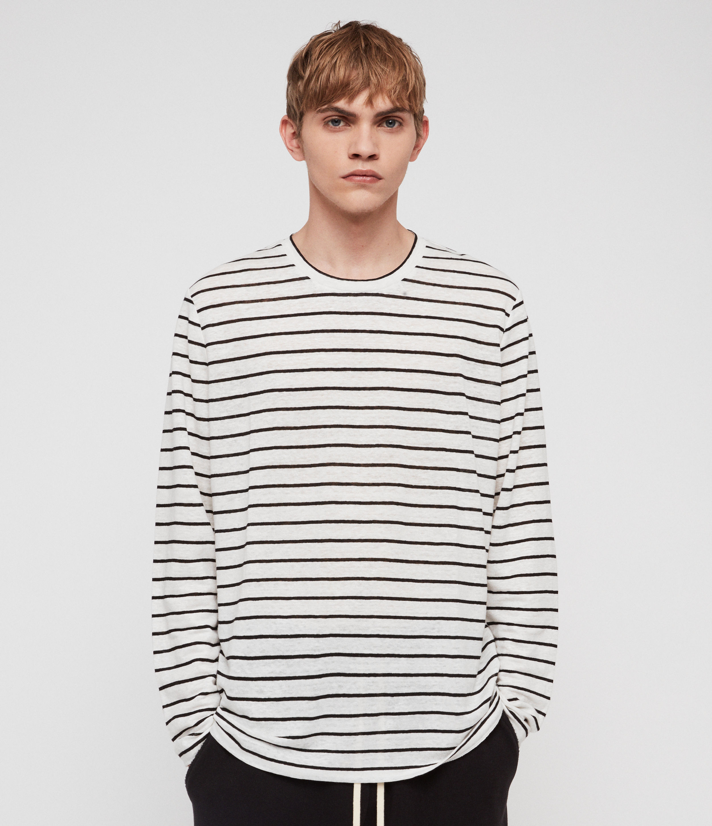 AllSaints Men's Linen Stripe Lightweight Ludo Long Sleeve Crew T-shirt, White and Black, Size: L