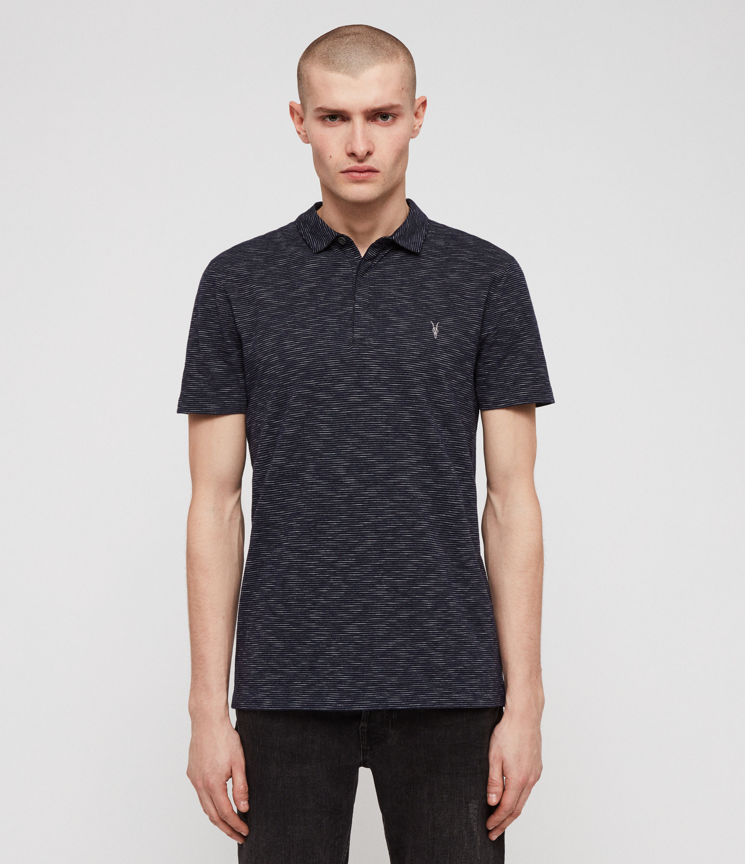 AllSaints Mens Cohen Short Sleeve Polo Shirt, Navy Blue and White, Size: S