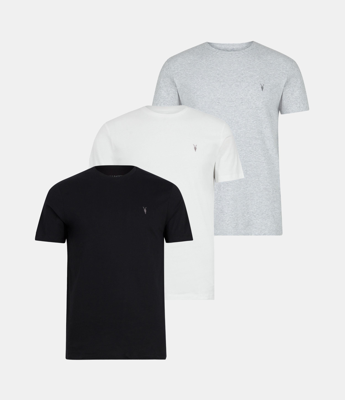 AllSaints Men's Cotton Slim Fit White, White, Black and Grey, Size: XS
