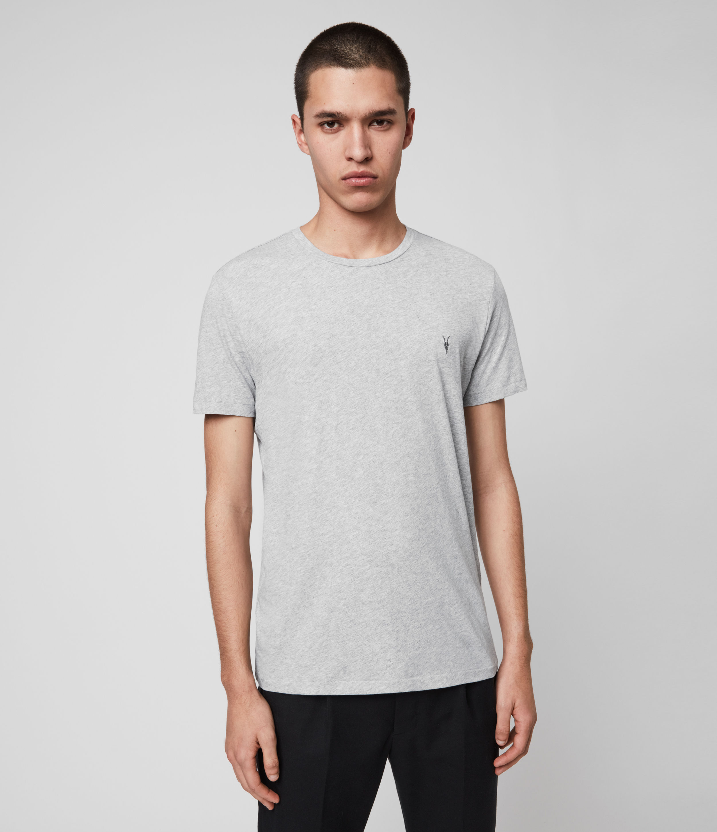 AllSaints Men's Cotton Slim Fit Pack of 3 Tonic Crew T-Shirts, White, Black and Grey, Size: XL