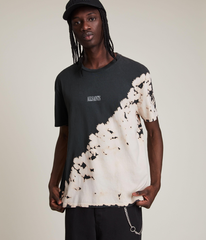 AllSaints Men's Jaxx Crew T-Shirt, Black and Beige, Size: L