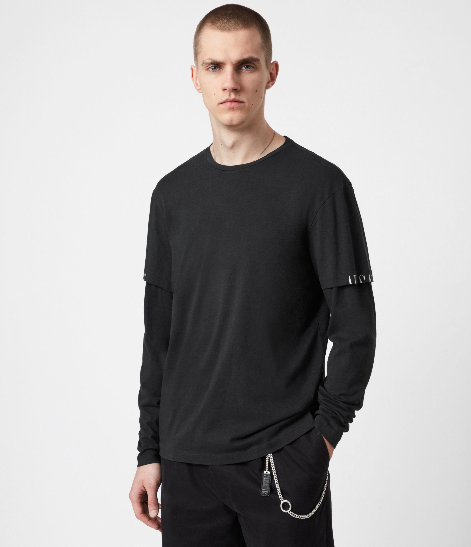 AllSaints Men's Haven Layered Crew T-Shirt, Jet Black, Size: S