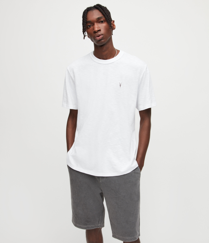 AllSaints Mens Dexter Crew T-Shirt, Optic White, Size: S