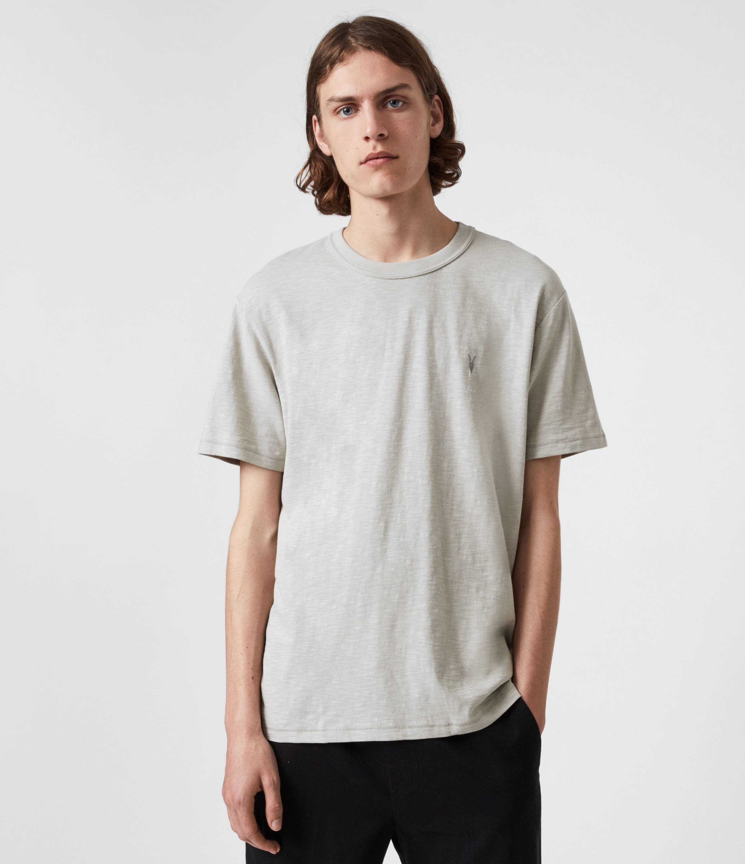 AllSaints Men's Dexter Short Sleeve Crew T-Shirt, Cloud Grey, Size: XL