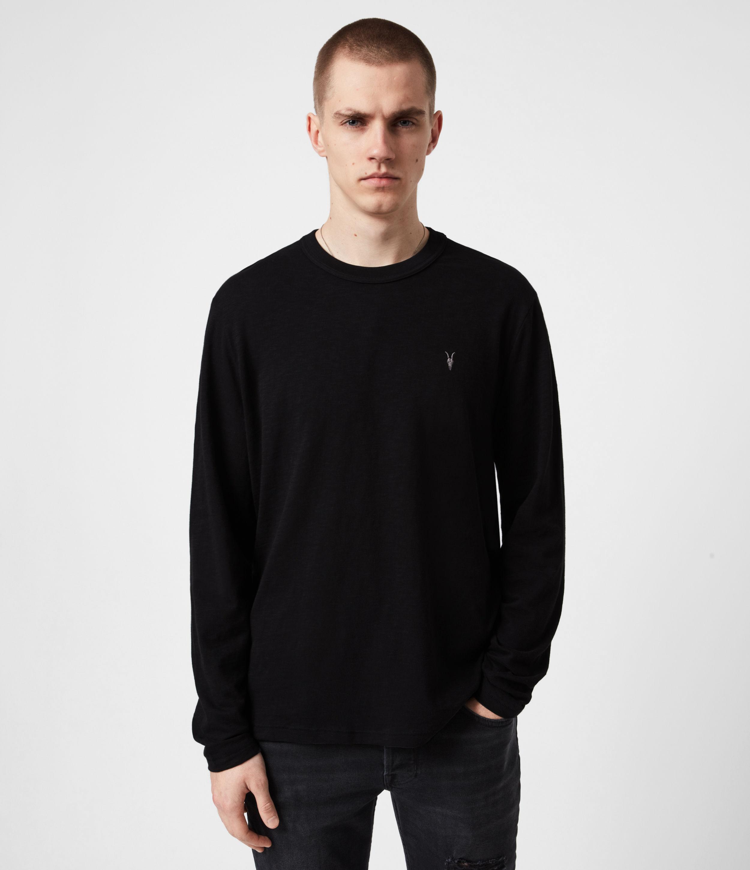 AllSaints Mens Dexter Long Sleeve Crew T-Shirt, Jet Black, Size: XXL