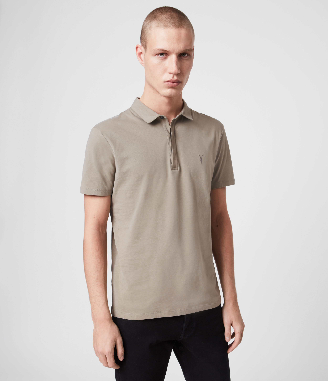 AllSaints Men's Cotton Regular Fit Brace Short Sleeve Polo Shirt, Green, Size: XS