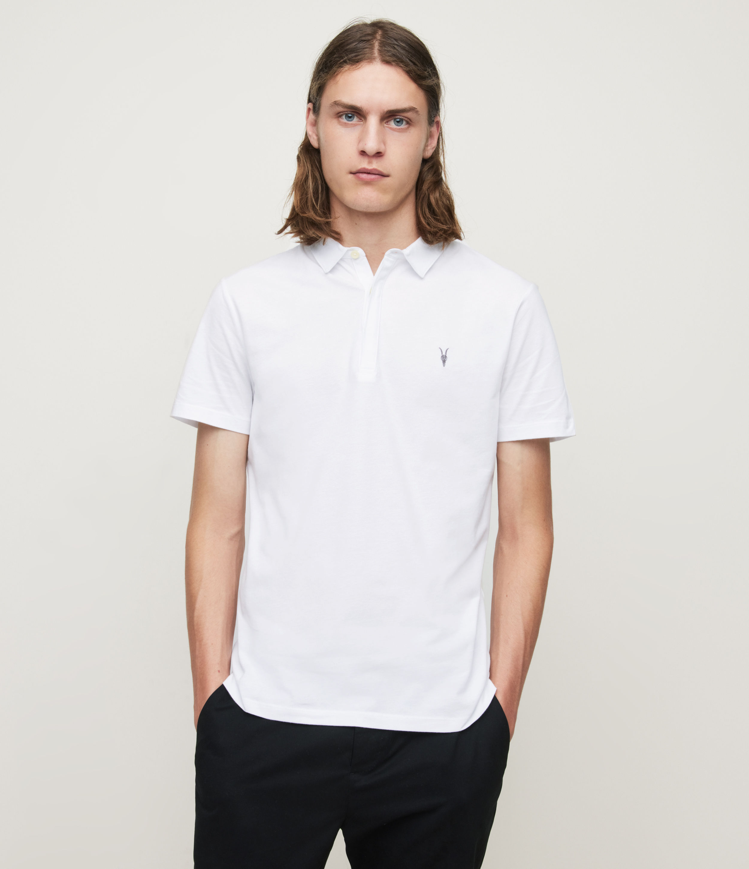 AllSaints Men's Cotton Regular Fit Brace Short Sleeve Polo Shirt, White, Size: XXL